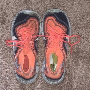 Nike Free Orange and Navy Blue size 8